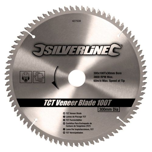Silverline 427539 TCT Veneer Circular Saw Blade 100 Teeth 300mm x 30mm